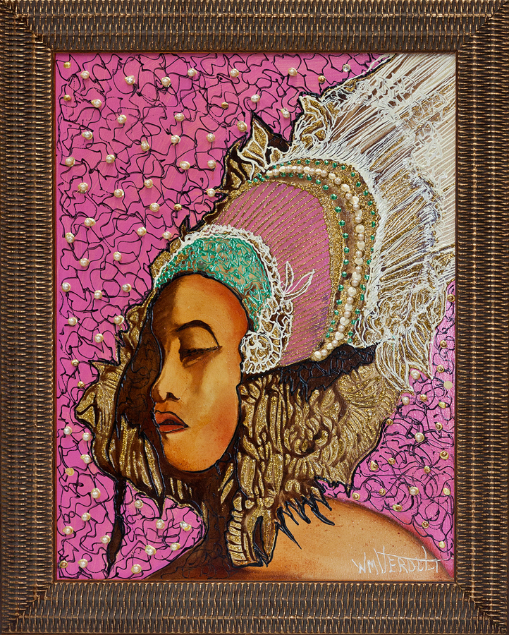 William Verdult Original Oil on panel with embedded Pearls Poia Princess