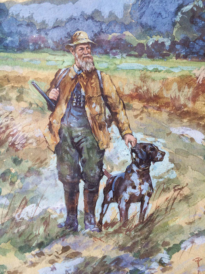 Frank Weston Benson 1862 – 1951 Hunting Original watercolor on paper circa 1913