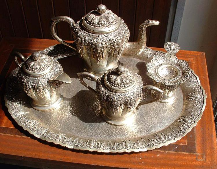 3m  ANTIQUE EUROPEAN SILVER SIGNED 800 MD SET TEA SERVICE 3,728 Kg.