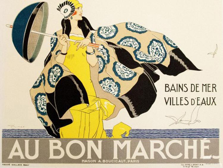 Original Lithograph Au Bon Marche Paris