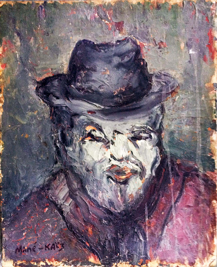Mane Katz Emmanuel Original Oil on board Portrait with Hat