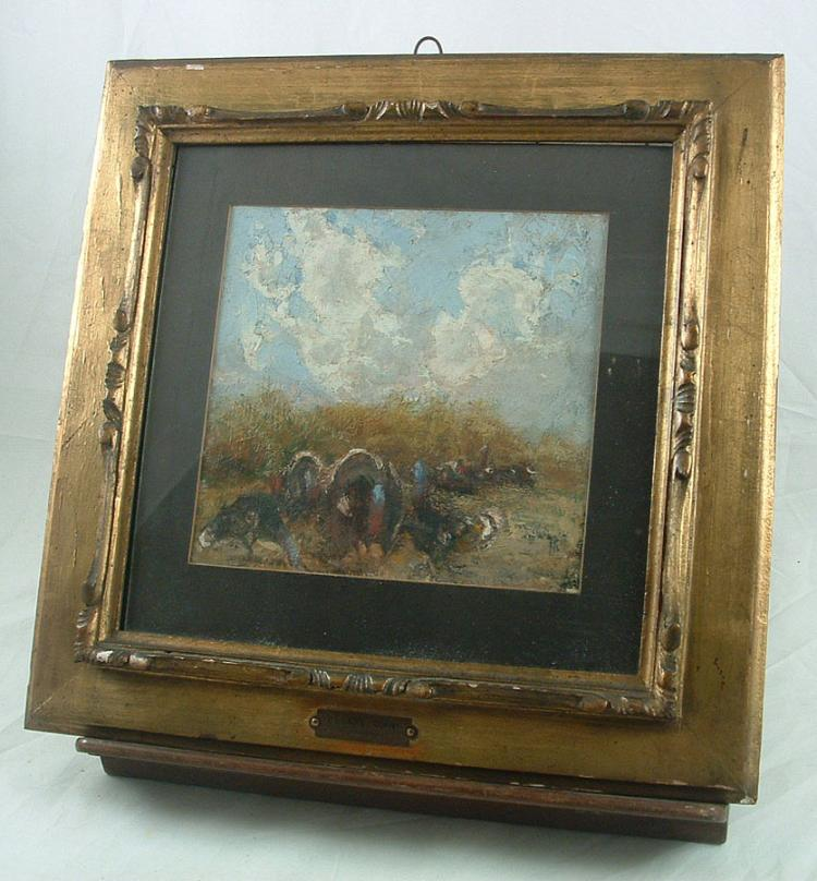 ANTIQUE ITALIAN CESARE CIANI FIRENZE OIL ON BOARD PAINTING 1854-1925