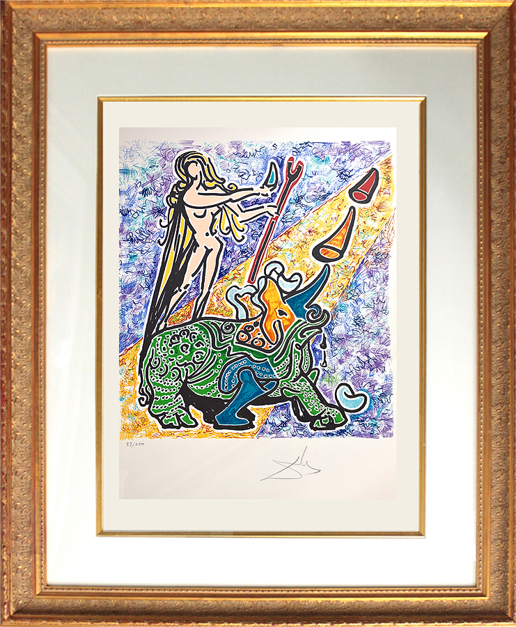 Salvador Dali Les Vitraux Suite The Virgin and Rhinoceros Original Lithograph from 1976 Limited Edition