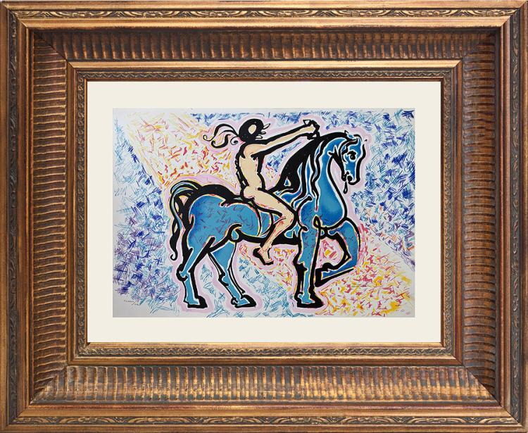 Salvador Dali Les Vitraux Suite Le Cavalier Victory of Primitive Man Original Lithograph from 1976 Limited Edition
