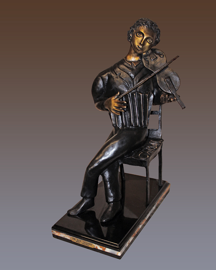 Marc Chagall The Violinist Patinated and Enameled Bronze Sculpture