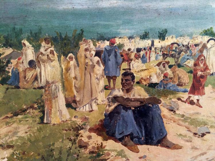 OLD SPANISH PAINTING TANGER 1898 Artist- Mariano  OBIOLS DELGADO MARIANO Original Oil on canvas from 1898