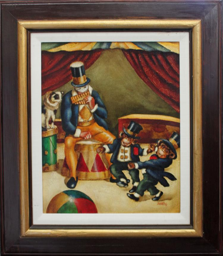 Barrios Original Oil on canvas Circus