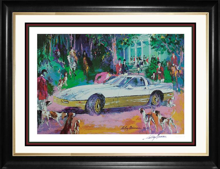 Le Roy Neiman Hand Signed Lithograph Corvette Car Race