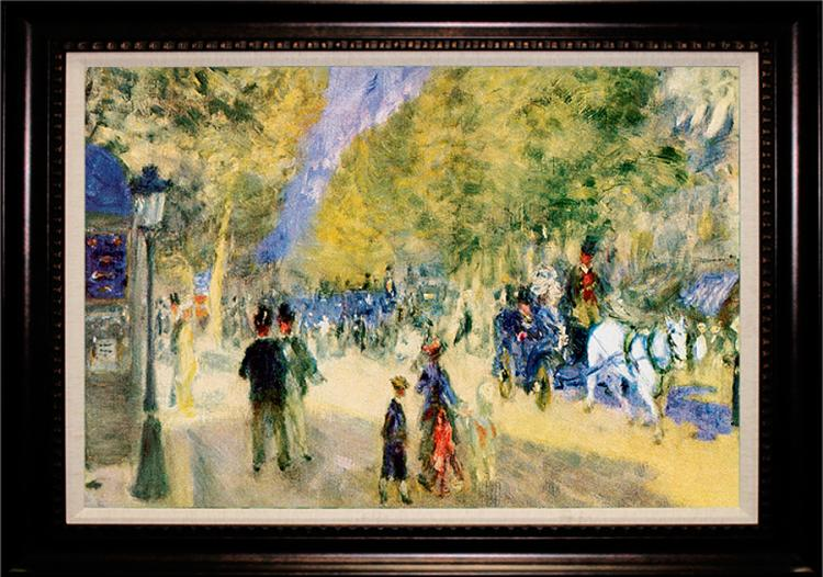 After Pierre Renoir Embellished Canvas The Great Boulevards