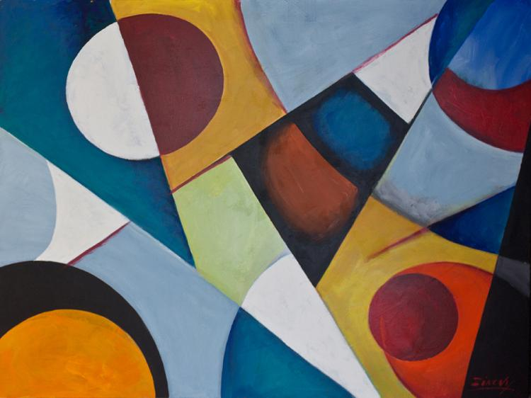 Zinovy In Circles Original Oil on canvas Abstract