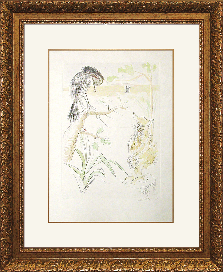 Salvador Dali Limited Edition Lithograph The Raven and the Fox