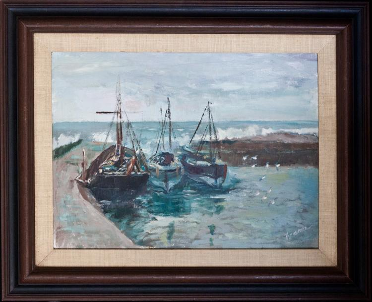 Original Oil Boats on the water by Baron