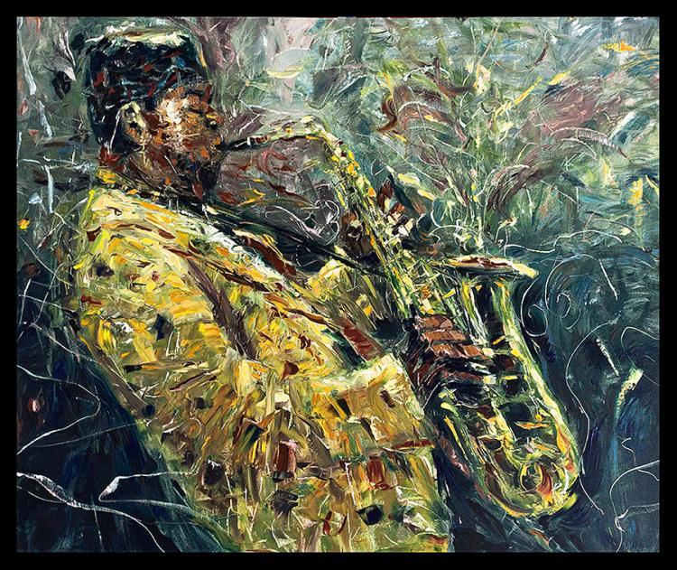 Original Oil on board by Jorn Fox Saxophone