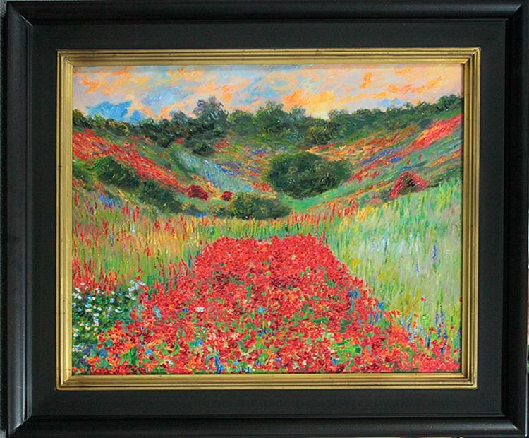 Claude Monet Hamd embellished Giclee-Poppyfield at Giverny
