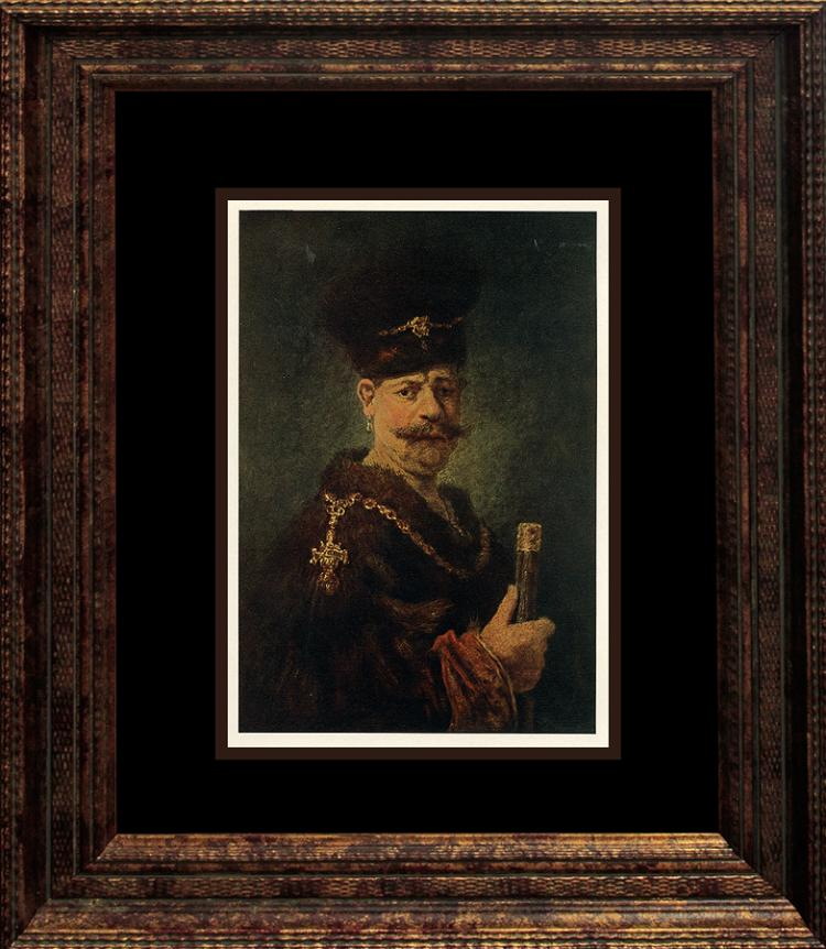 Rembrandt Lithograph in colors from 1905 Embossed