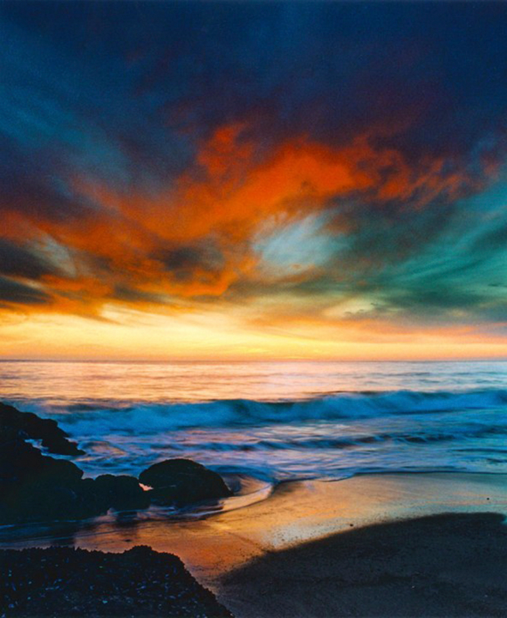 Nick Rodionoff-Coppery Sunset Over Blue Seas Photograph on canvas