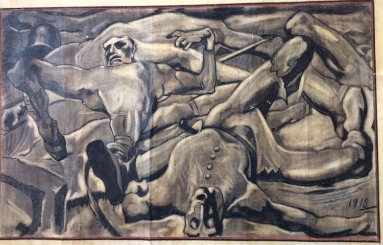 David Alfaro Siqueiros Original Mixed Media on paper 53x33cm.