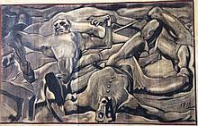 David Alfaro Siqueiros  Original Mixed Media on paper  53x33cm.