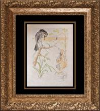 Salvador Dali original Etching Limited Edition The Raven and the Fox