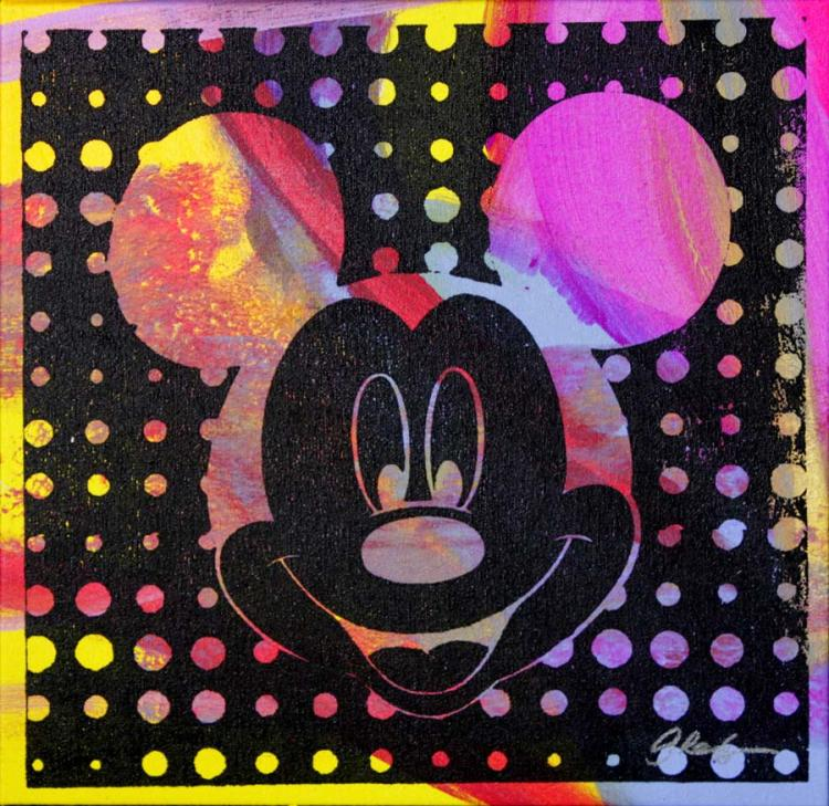 Mickey Mouse Mixed Media Original on canvas Hand signed by the artist Gail Rodgers