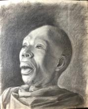 Artist: Charles White (April 2, 1918 - October 3, 1979). Technique: charcoal drawing on paper. Measurements: 41 x 35 cm Title: Head in Black.