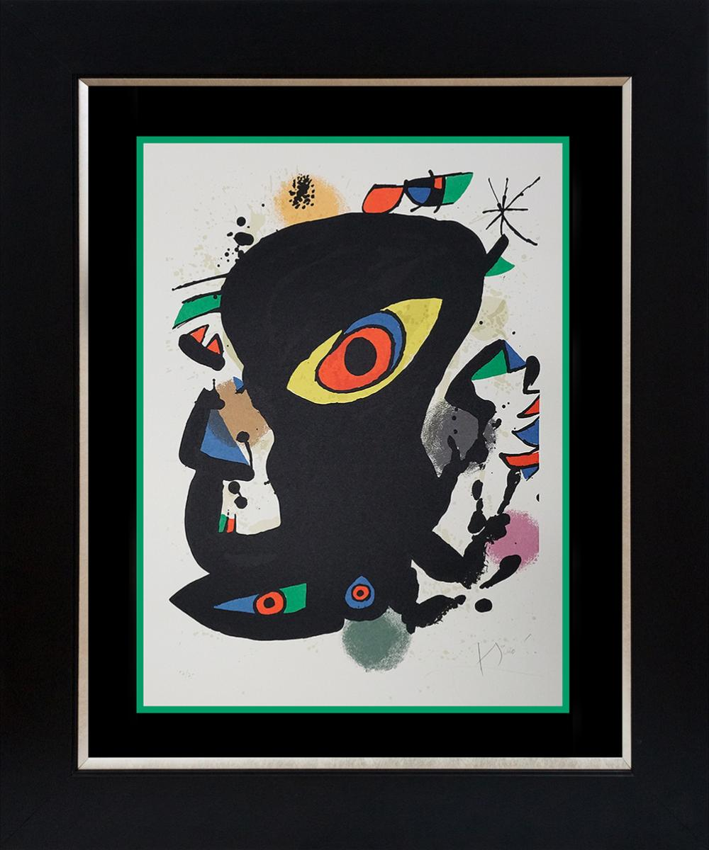 Lot 2751: Joan Miro Original Lithograph Limited Edition Maeght Exhibition from 1970 on Guarro watercolor paper 57 of 75 edition Hand signed and numbered by the artist. Very exclusive. Custom framed and includes certificate Approx 34x28 inches