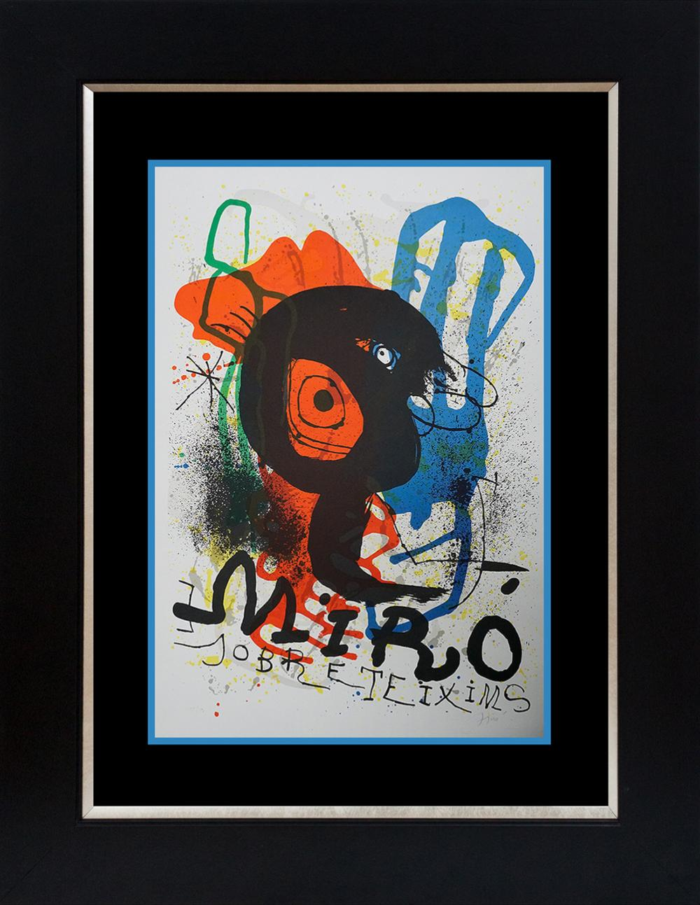 Joan Miro Original Lithograph Limited Edition Sobreteixims Exhibition from 1973 Reference Cramer 919.  This original lithograph is number 95 of 150 Hand signed and numbered by the artist. Custom framed and includes certificate  Approx  34x28 inches