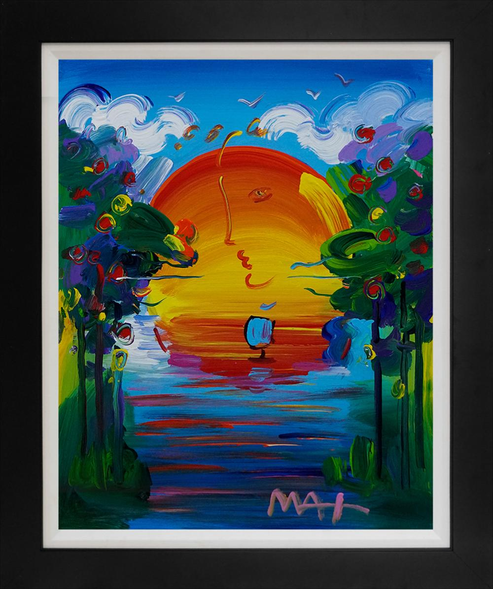 Peter Max Original acrylic on canvas  (Image size 20x16 inches) Hand signed one of a kind.