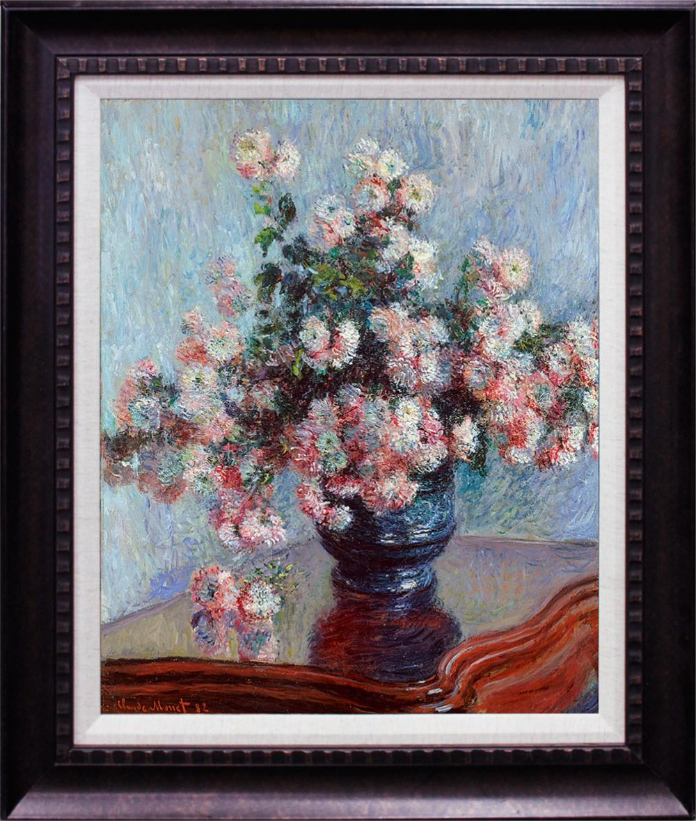 Lot 2864: Chrysanthemums after Claude Monet Hand Embellished on Canvas