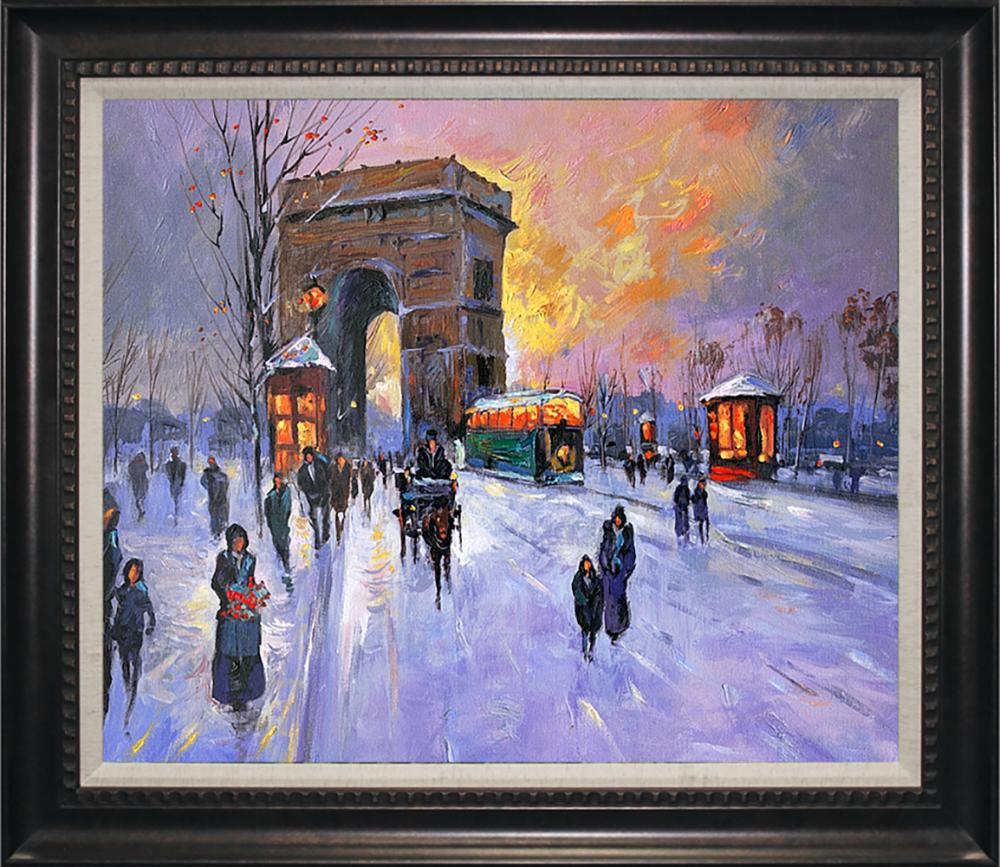 Winter Arch D'Triomphe Hand embellished Limited edition on canvas by Michael Schofield 27x32 Approx.
