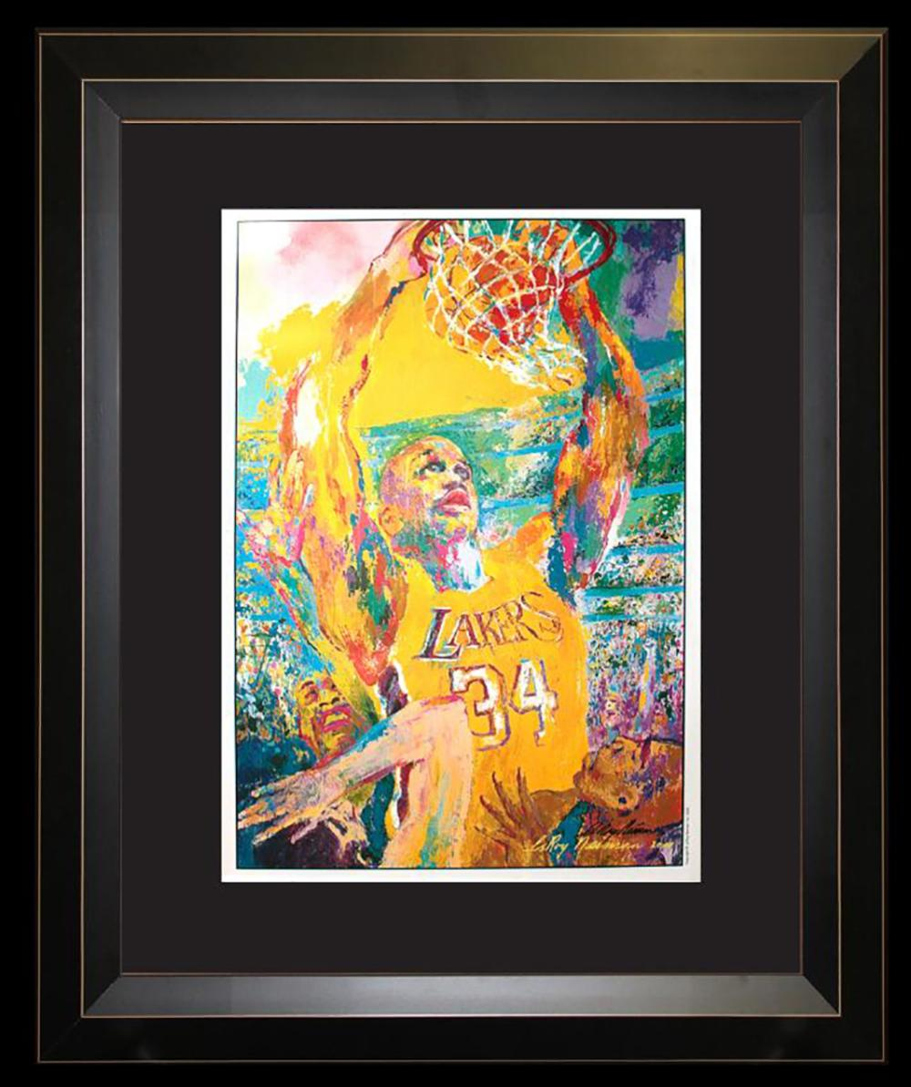 Lot 3012: LeRoy Neiman Hand signed Lithograph Basketball Lakers Shaq