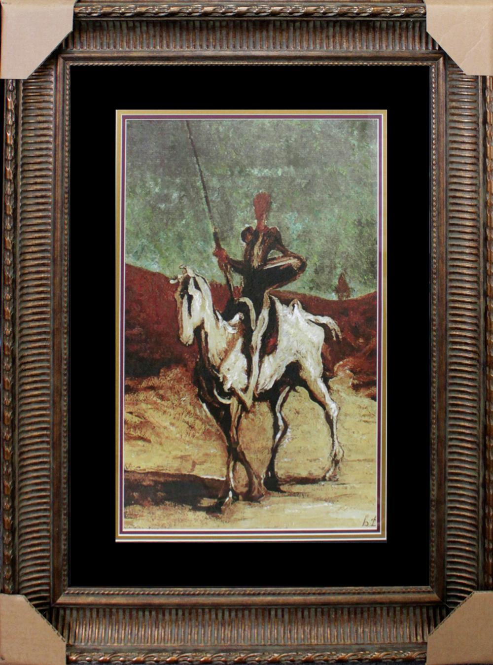 Lot 3302: Honore Daumier - Horseman embellished canvas