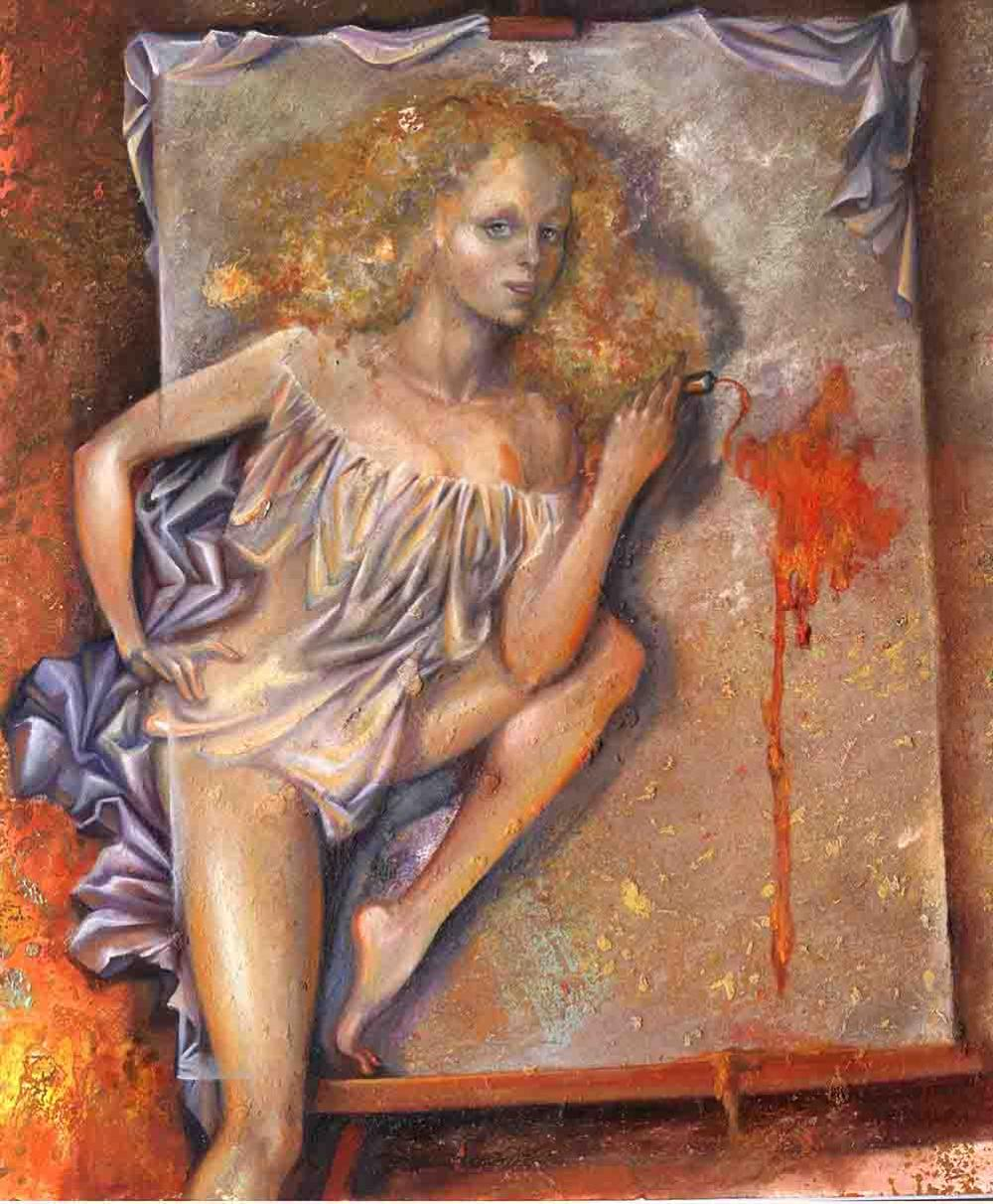 Lot 3405: Muse. Mixed media original on canvas by Arina