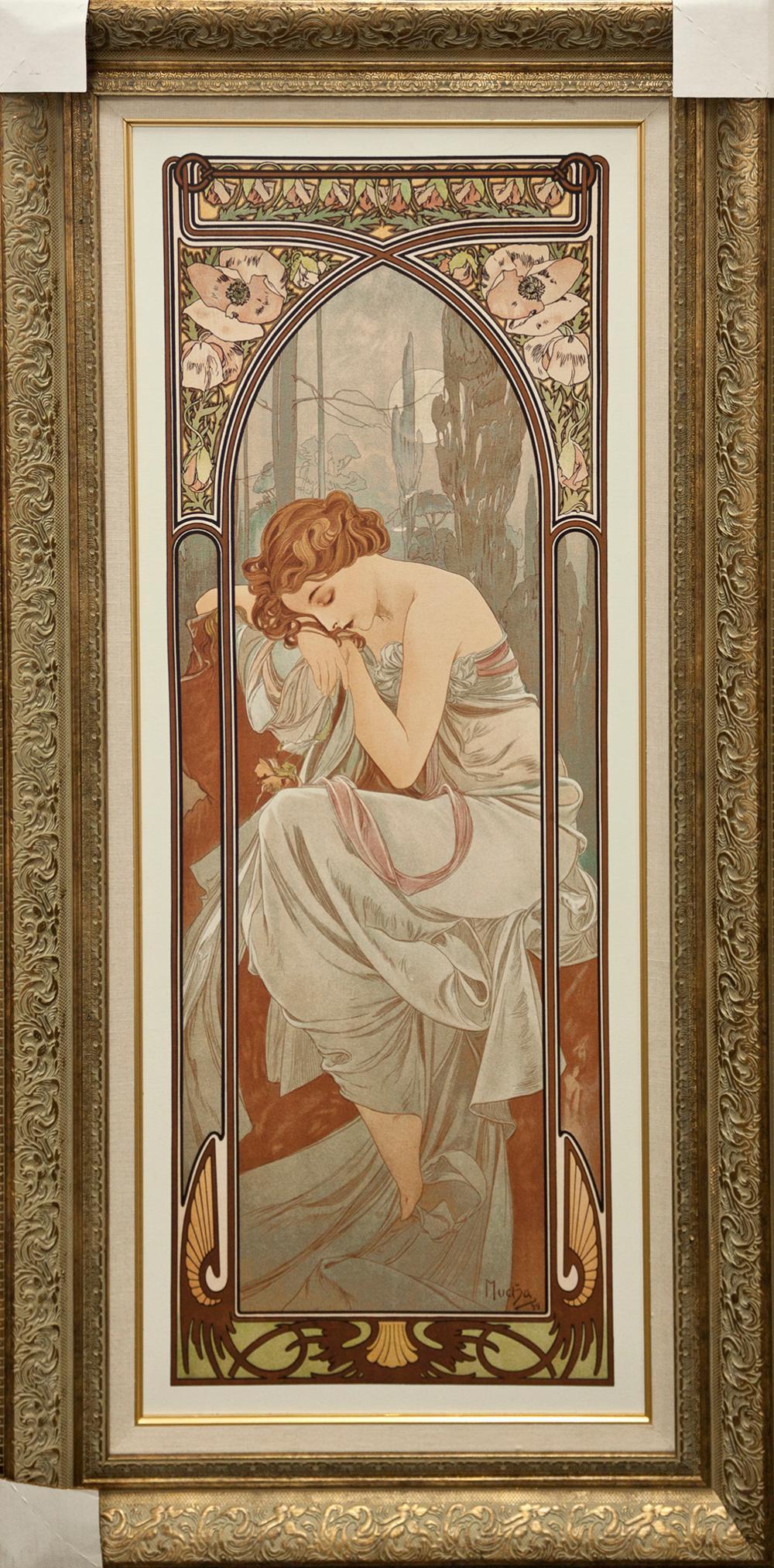 Lot 3427: Awakening Custom Framed Alphonse Mucha Giclee on Canvas