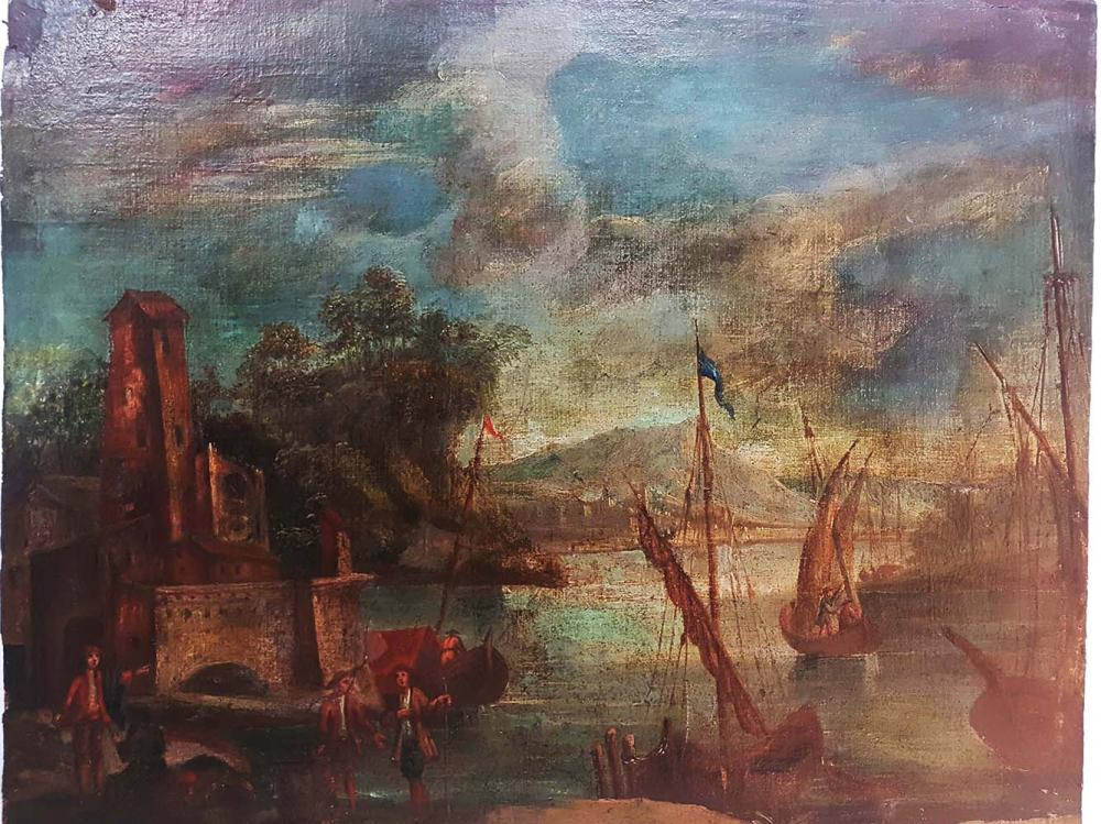 Lot 3479: Antique European oil on canvas from the 18th Century