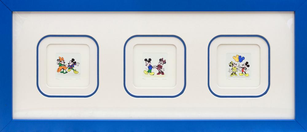 Lot 3510: Mickey Mouse and Minnie Mouse in action hand colored original Etching Walt Disney