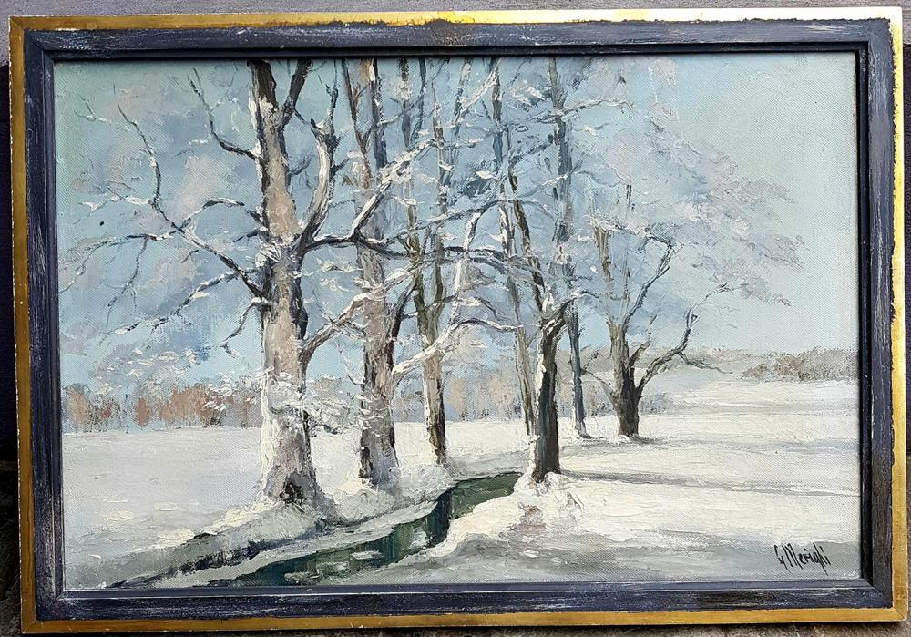 Lot 3478: Old European Painting Snowy Landscape 1920