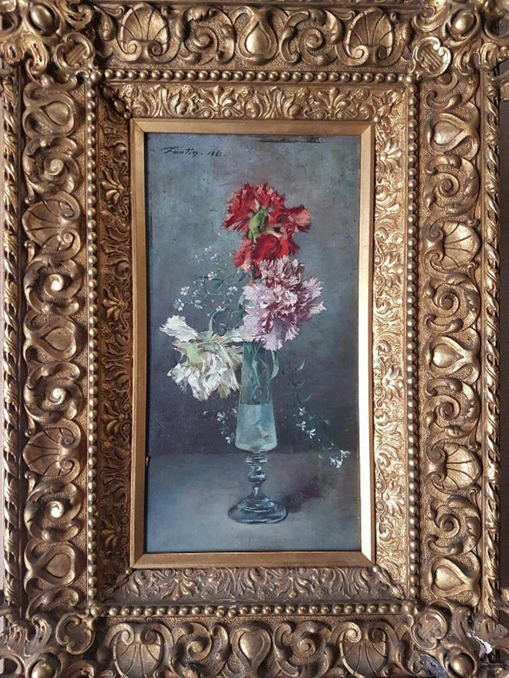 "Lot 3580: Old rare French Painting Henri Fantin-Latour, ""A Bouquet of Carnations"" 1861 Oil on Wood"