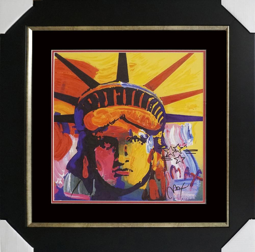 Lot 3587: Peter Max mixed media on lithography Liberty