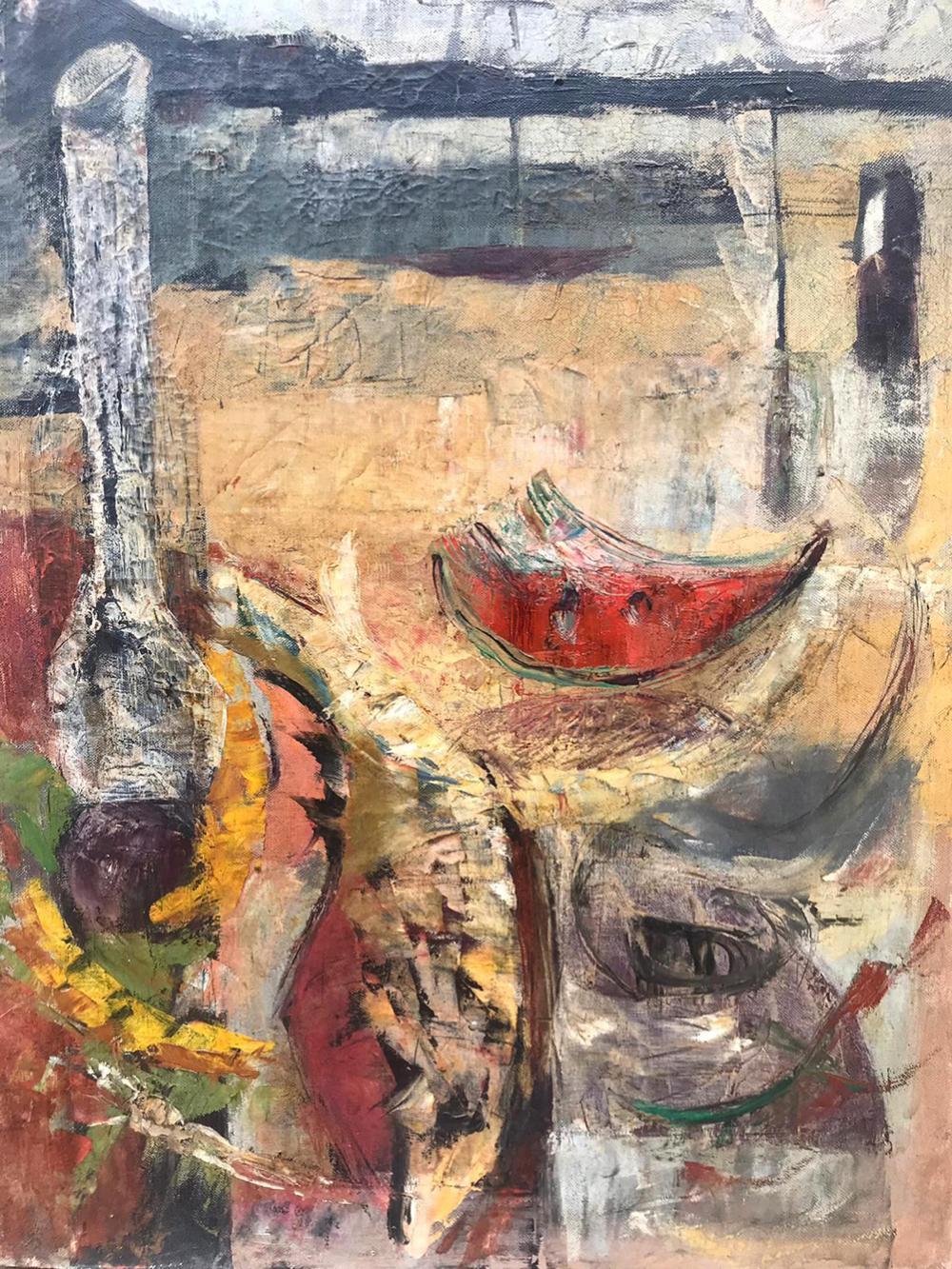 Lot 3611: American Abstract original oil 1940 canvas Watermelon