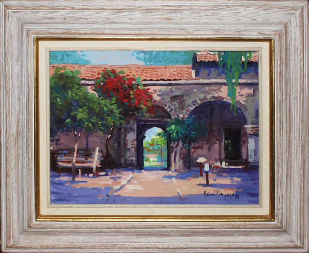 Lot 4122: Hand Signed Original Plein Air Oil on canvas by Rafael