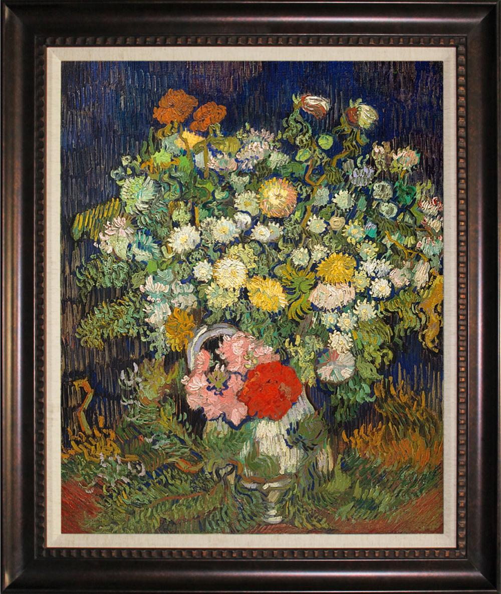 Lot 4206: Flowers Hand embellished Giclee Vincent Van Gogh