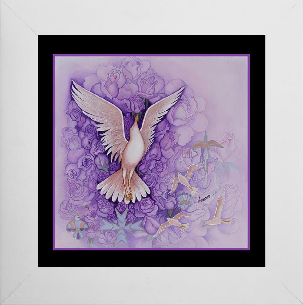 Lot 7039: Alice Asmar Lavender Dove Mixed media on canvas