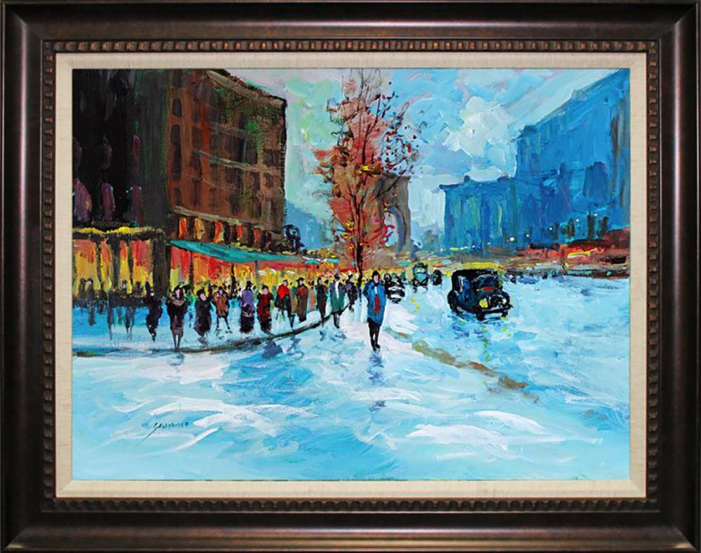 Lot 7055: Winter Street Original on canvas by Michael Schofield