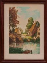 Original Hand Colored Dry Point Etching Aquatint circa 1920 Hand signed by Shandy