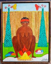 Old Haitian Painting Signed Artist: Seymour Etienne BOTTEX Female Nude 1940
