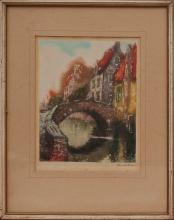 Hand Colored Dry Point Etching Aquatint circa 1920 Hand signed by Rwandler