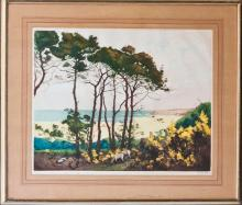 Hand Colored Dry Point Etching Aquatint circa 1920 Hand signed