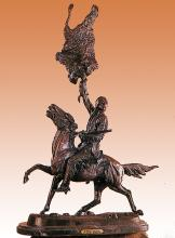 Frederic Remington Buffalo Signal Bronze Sculpture