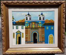 LUIS MILLINGALLI (Equador) SAN FRANCISCO COLONIAL CHURCH 1987  Original oil
